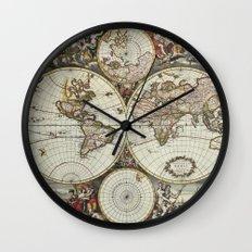Vintage World Map Wall Clock