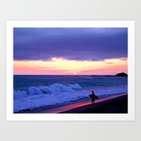 Sunset Skimboarder Art Print