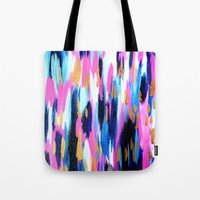 Spring Golden - Pink and Navy Abstract Tote Bag