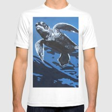 Baby Blue SMALL Mens Fitted Tee White
