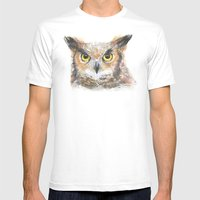 Owl Grey Horned Watercolor Mens Fitted Tee White SMALL