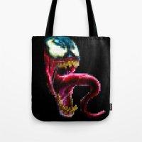 Venom Pixel : Black Background Tote Bag