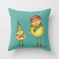 Two Chicks Throw Pillow