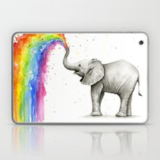 Baby Elephant Spraying Rainbow Whimsical Animals Laptop & iPad Skin