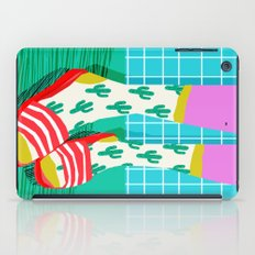 Sliders - memphis throwback retro neon 1980s 80s style pop art shoe fashion grid pattern socks iPad Case
