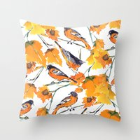 Birds In Autumn Throw Pillow
