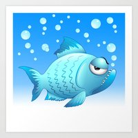 Grumpy Fish Cartoon Art Print