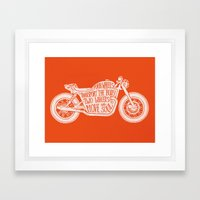 Four wheels transport the body, two wheels move the soul Framed Art Print