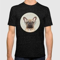 Mr French Bulldog Mens Fitted Tee Tri-Black SMALL