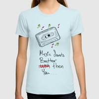 Cassette Womens Fitted Tee Light Blue SMALL