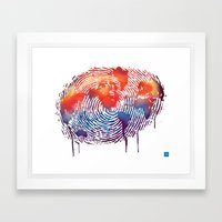 global map finger print Framed Art Print