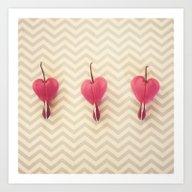 Art Print featuring Chevron Hearts by RDelean