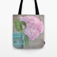 Pink Hydrangea In Blue J… Tote Bag