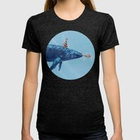 Party Whale  Womens Fitted Tee Tri-Black SMALL