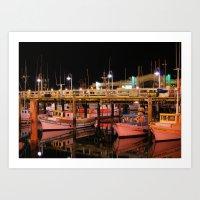 Harbor Reflection At Nig… Art Print
