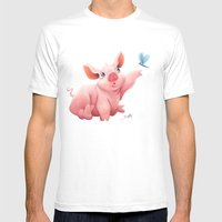 Lil Pig Mens Fitted Tee White SMALL