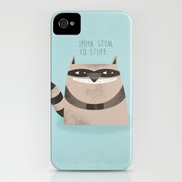 iPhone Cases featuring Sneaky Raccoon by Chase Kunz
