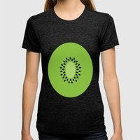 #3 Kiwi Fruit Womens Fitted Tee Tri-Black SMALL
