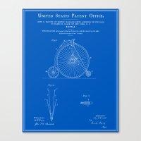High Wheel Bicycle Patent - Blueprint Canvas Print