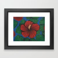 Tropical Hibiscus In Red… Framed Art Print