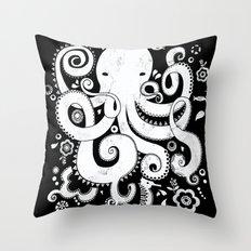 Royal Octopus - black Throw Pillow