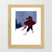 walking on snow Framed Art Print