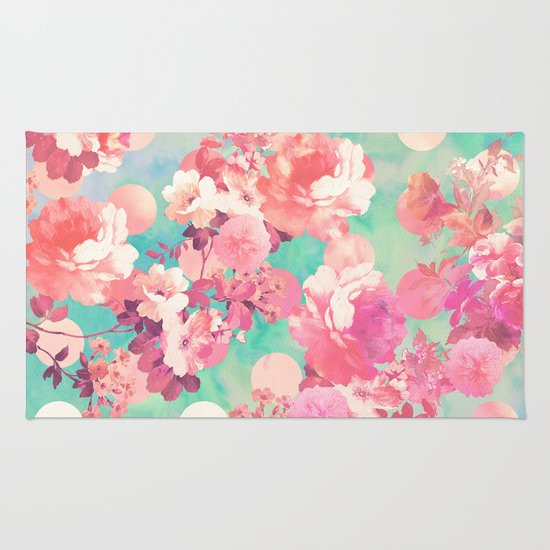 Romantic Pink Retro Floral Pattern Teal Polka Dots Rug By
