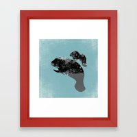 Manatee Mother And Baby  Framed Art Print
