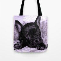 Purple Frenchie Tote Bag