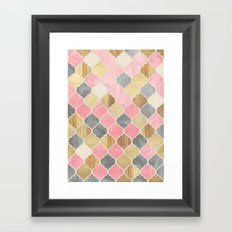 Silver Grey, Soft Pink, Wood & Gold Moroccan Pattern Framed Art Print