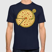 Pizza Vinyl Mens Fitted Tee Navy SMALL