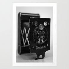 Black and white Vintage camera Art Print
