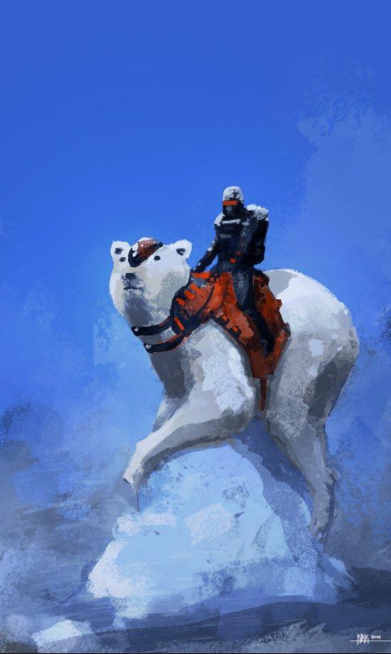 Winter soldier with polar bear Art Print