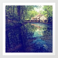 Country Lane Reflections Art Print
