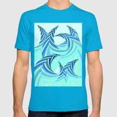Grafidoodle Waves II Mens Fitted Tee Teal SMALL