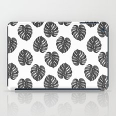 Monstera house plant leaf black and white painting  hipster indoor house plant tropical garden   iPad Case