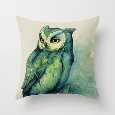Green Owl Throw Pillow