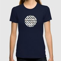 Chevron Glitter Womens Fitted Tee Navy SMALL