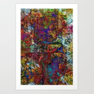 Abstract In Red & Blue Art Print