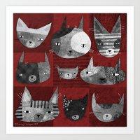 GRUNGE CATS Art Print