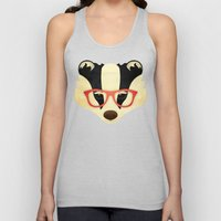 Hipster Badger: Red Unisex Tank Top