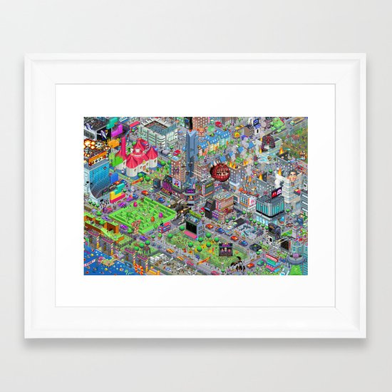 Videogame City V2.0 Framed Art Print