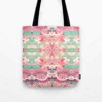 Pink Floral Teal Fashion Kaleidoscope Pattern Tote Bag