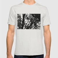 Pecan Tree Silhouette Mens Fitted Tee Silver SMALL