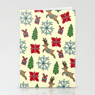 Reindeer And Poinsettias Stationery Cards