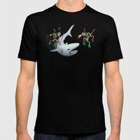 Monkeys Fighting Shark Mens Fitted Tee Black SMALL