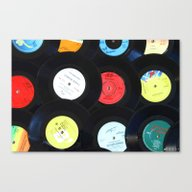Retro Vinyl Records Canvas Print
