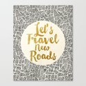 Let's Travel New Roads Canvas Print