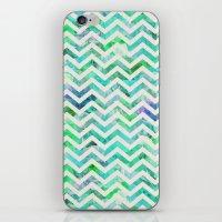 GREEN FLORAL CHEVRON iPhone & iPod Skin