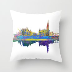Amsterdam Skyline In Silhouette Throw Pillow